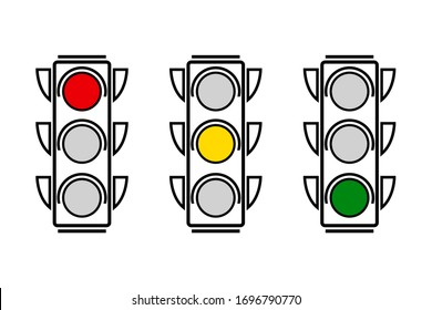 Hanging traffic lights with all three colors on. Flat vector illustration isolated on white background