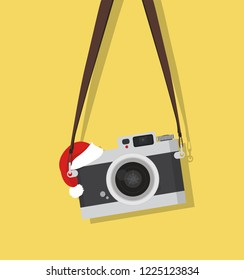 hanging vintage camera with hat christmas