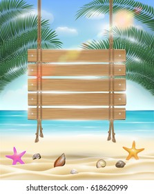 hanging wood board with sea sand beach background