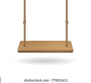 hanging wooden swing with rope on white background