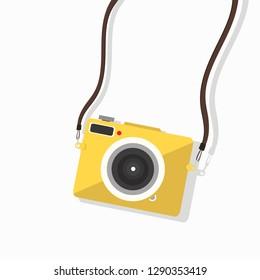 hanging yellow camera mini vector