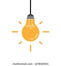 Hanging yellow color bulb symbol. Isolated vector illustration.