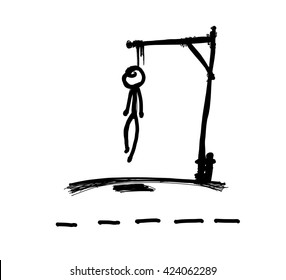 Hangman game vector drawing, suicide rope.