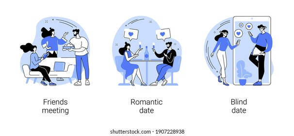 Hangouts abstract concept vector illustration set. Friends meeting, romantic blind date, leisure time, soul mate, romantic relationship, love story, Valentine day, restaurant abstract metaphor.
