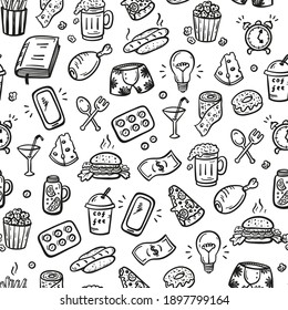 Hangover and Mess After Party Concept. Vector Seamless Pattern of Hand Drawn Doodle Various Household Items and Fast Food Icons. Lifestyle Stuff Signs.