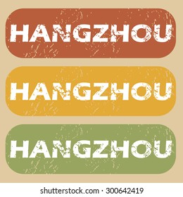 Hangzhou on colored background