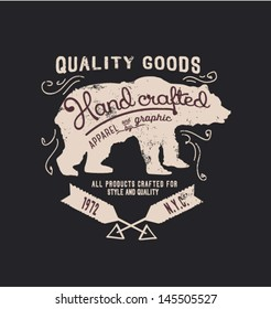 hanmade illustration vector emblem label sketch bear