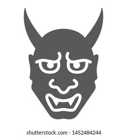 Hannya glyph icon, asian and demon, japanese mask sign, vector graphics, a solid pattern on a white background, eps 10.
