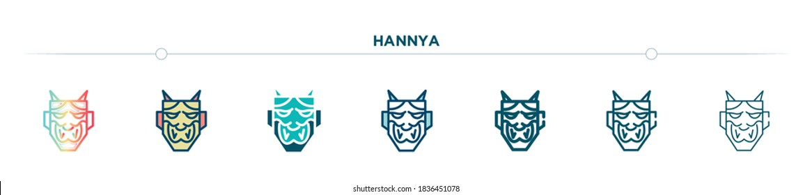 hannya icon designed in gradient, filled, two color, thin line and outline style. vector illustration of hannya vector icons. can be used for mobile, ui, web