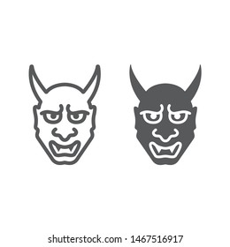 Hannya line and glyph icon, asian and demon, japanese mask sign, vector graphics, a linear pattern on a white background, eps 10.