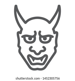 Hannya line icon, asian and demon, japanese mask sign, vector graphics, a linear pattern on a white background, eps 10.