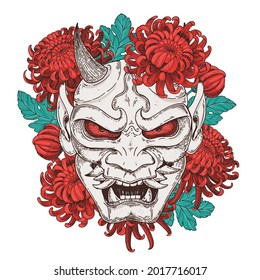 Hannya mask with chrysanthemum flowers hand drawn vector illustration. Traditional japanese demon. Tattoo print. Hand drawn illustration for t-shirt print, fabric and other uses.