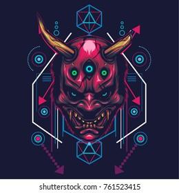 Hannya Mask Illustration in sacred geometric style