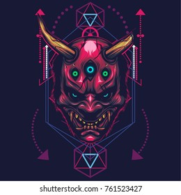 Hannya Mask Illustration in sacred geometric style