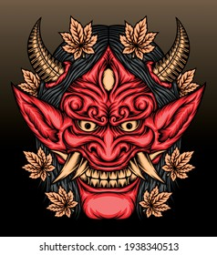 Hannya mask with maple leaves. Premium vector
