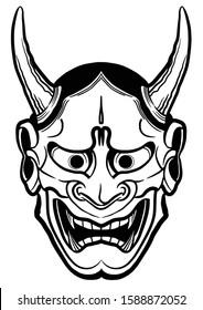 hannya mask tattoo   japanese tattoo   kabuki mask   line vector art