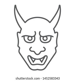 Hannya thin line icon, asian and demon, japanese mask sign, vector graphics, a linear pattern on a white background, eps 10.