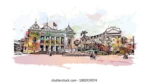 Hanoi, Capital of Vietnam. Watercolor splash with hand drawn sketch illustration in vector.