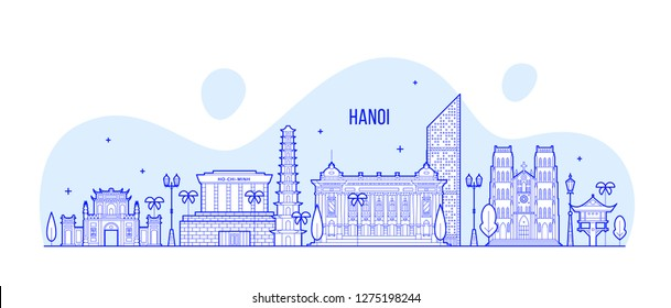 Hanoi skyline, Vietnam. This illustration represents the city with its most notable buildings. Vector is fully editable, every object is holistic and movable