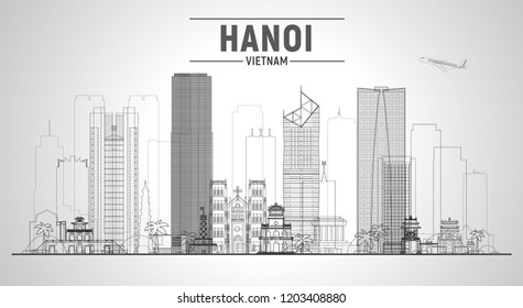 Hanoi ( Vietnam ) line skyline with panorama in white background. Vector Illustration. Business travel and tourism concept with modern buildings. Image for presentation, banner, web site.