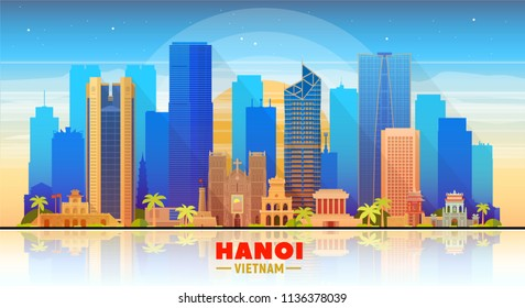 Hanoi ( Vietnam ) skyline with panorama in sky background. Vector Illustration. Business travel and tourism concept with modern buildings. Image for presentation, banner, web site.