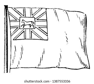 Hanover Flag, this flag has cross superimposed on saltire in canton, it has horse in middle of canton, vintage line drawing or engraving illustration