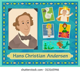 Hans Christian Andersen - Cartoon illustration of Hans Christian Andersen and characters from his stories. Eps10