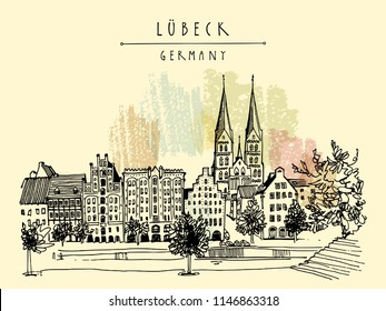 Hanseatic city of  Lubeck, Germany, Europe. Riverside. Historic buildings, trees, river Trave. Hand drawing. Travel sketch. Vintage touristic postcard, poster or book illustration. Vector art