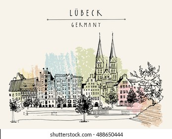 Hanseatic city of  Lubeck, Germany, Europe. Riverside. Historic buildings, trees, river Trave. Freehand drawing. Travel sketch. Vintage touristic postcard, poster or book illustration. Vector