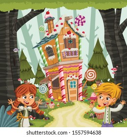 Hansel and Gretel in front of the candy house. Classic children fairy tale.