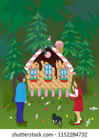 Hansel and Gretel, a little brother and sister, watching a house made of candy