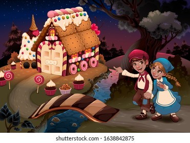 Hansel and Gretel near the candy house. Vector fantasy illustration