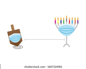 Hanukkah 2020 social distance vector illustration, Brown spinning top and Hanukkah Menorah with colorful candles wearing Blue face masks, keeping safe distance