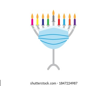 Hanukkah 2020 - Vector illustration of Hanukkah Menorah with colorful candles wearing Blue face mask on White background