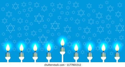 Hanukkah. 2-10 December. Concept of Judaic holiday. Nine candles. Hexagonal star of David