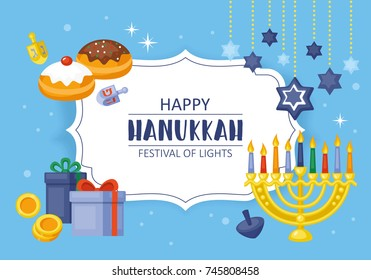 Hanukkah banner design. Menorah, sufganiyot, dreidel and gift box flat style vector illustration