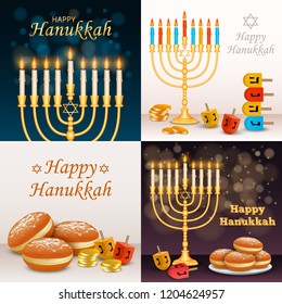 Hanukkah banner set. Realistic illustration of hanukkah vector banner set for web design