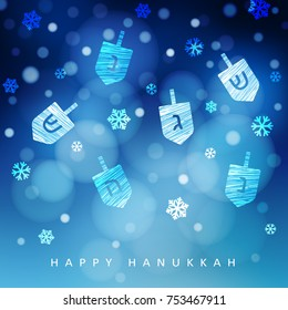 Hanukkah blue background with falling snow, light and dreidels. Modern festive blurred vector illustration for Jewish Festival of light holiday.