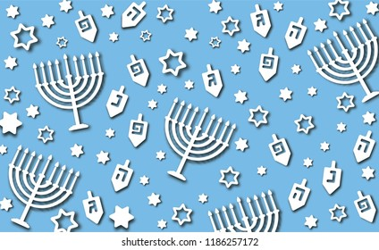 Hanukkah blue background with holiday candles, dreidels, Hebrew letters and David stars. Modern paper cut design for Jewish Festival of light. Vector illustration