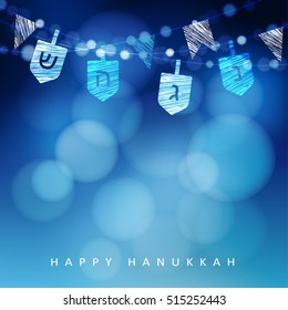 Hanukkah blue background with string of light and dreidels. Festive party decoration. Modern blurred vector illustration  for Jewish Festival of light.