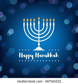 Hanukkah Candles on Bokeh Background.