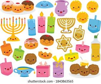 Hanukkah cartoons set. Cute clipart collection of cartoon Hanukkah symbols with smiling faces.
