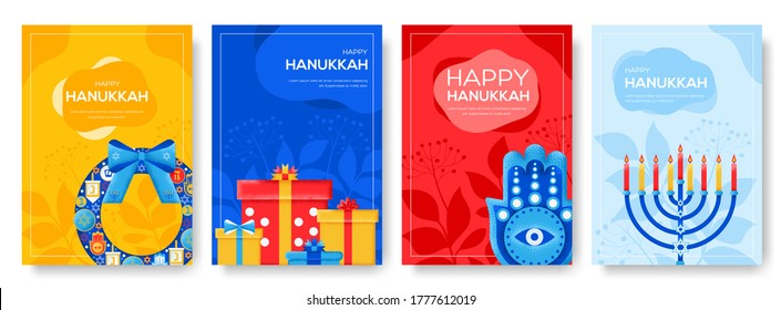 Hanukkah day flyer, magazines, poster, book cover, banners. invitation cards concept background. Layout illustration modern slider page. Grain texture and noise effect.
