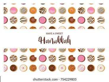 Hanukkah doughnut , Jewish holiday symbol. sweet traditional bake. greeting card
