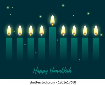 Hanukkah greeting card with candles. Happy Hanukkah, Jewish holiday background. Vector Hanukkah background with menorah