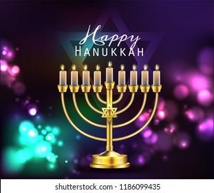Hanukkah greeting card with menorah (traditional Candelabra). Happy Hanukkah, Jewish holiday background. Vector Hanukkah background with menorah.