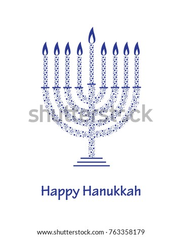 hanukkah greeting card template blue patterned stock vector royalty