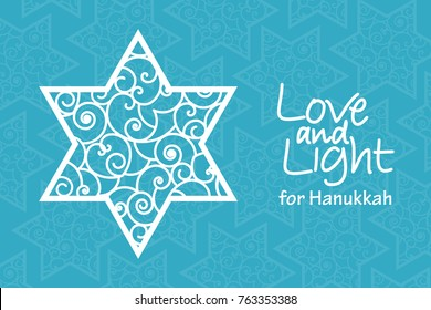 Hanukkah greeting card template. Hand drawn David star with curled pattern with handwritten lettering Love and Light on blue patterned background. Elegant vector design for holiday banner, flyer, card
