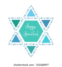 Hanukkah greeting card template. Hand drawn David star with handwritten lettering Happy Hanukkah inside on white background. Simple vector design for holiday cards, backgrounds, banners, flyers.