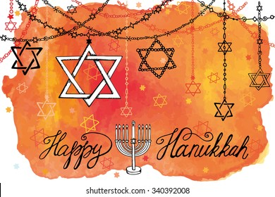 Hanukkah Greeting card.Star of  David in Doodle style.Menora,watercolor orange splash,text.Hand drawing jewish decor,holiday garland.Vector background.Horizontal Illustration